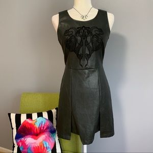 Sugarlips Black Faux Leather Embroidered Dress D1